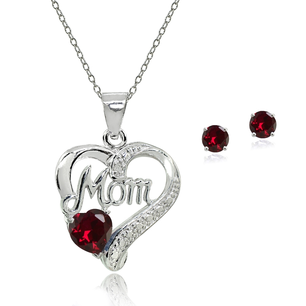 Love Mom Pendant Sterling Silver Necklace Perfect loving gift for mother