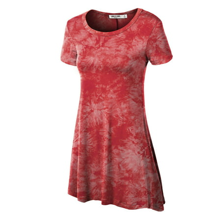 MBJ WT1066 Womens Scoop Neck Short Sleeve All Over Tie Dye Trapeze Tunic Top L CORAL