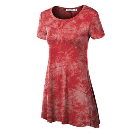 MBJ WT1066 Womens Scoop Neck Short Sleeve All Over Tie Dye Trapeze Tunic Top L CORAL Crinkle Ladies Tie Dye