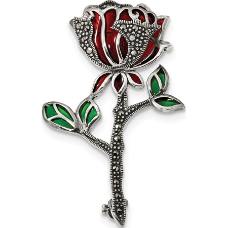 Leslies Fine Designer Sterling Silver Sterling Silver Antiqued Red & Green Epoxy Marcasite Flower Pin (Length=49) (Width=29.5)