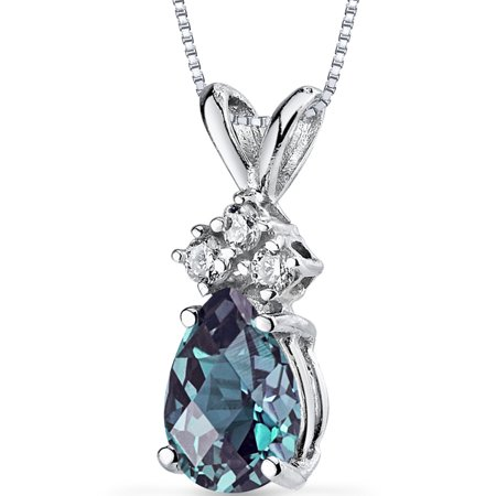 1.00 Carat T.G.W. Pear-Cut Created Alexandrite Diamond Accent 14kt White Gold Pendant, (Purple Pearl Cluster)