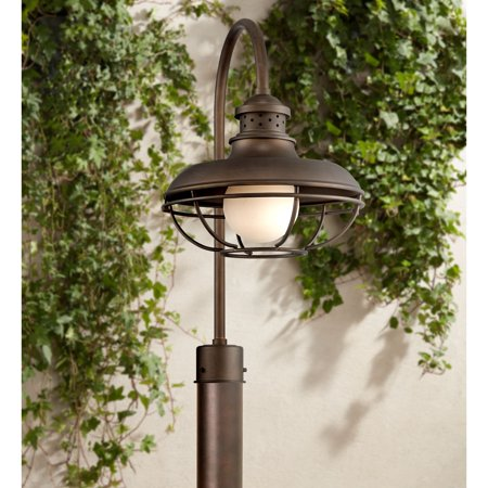 Franklin Iron Works Vintage Outdoor Post Light Oil Rubbed Bronze Open Cage 23 1/2