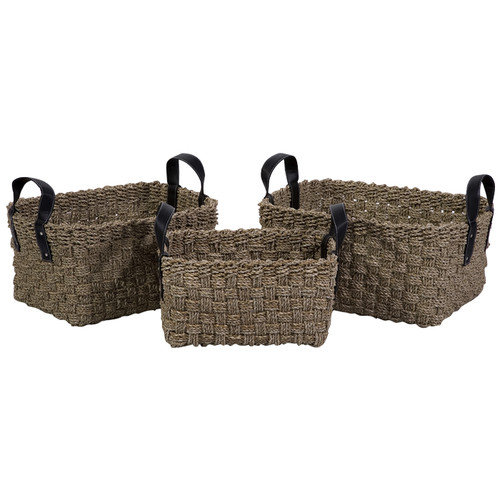 Wildon Home   3 Piece Natural Sea Grass Basket Set with Faux Leather Handles