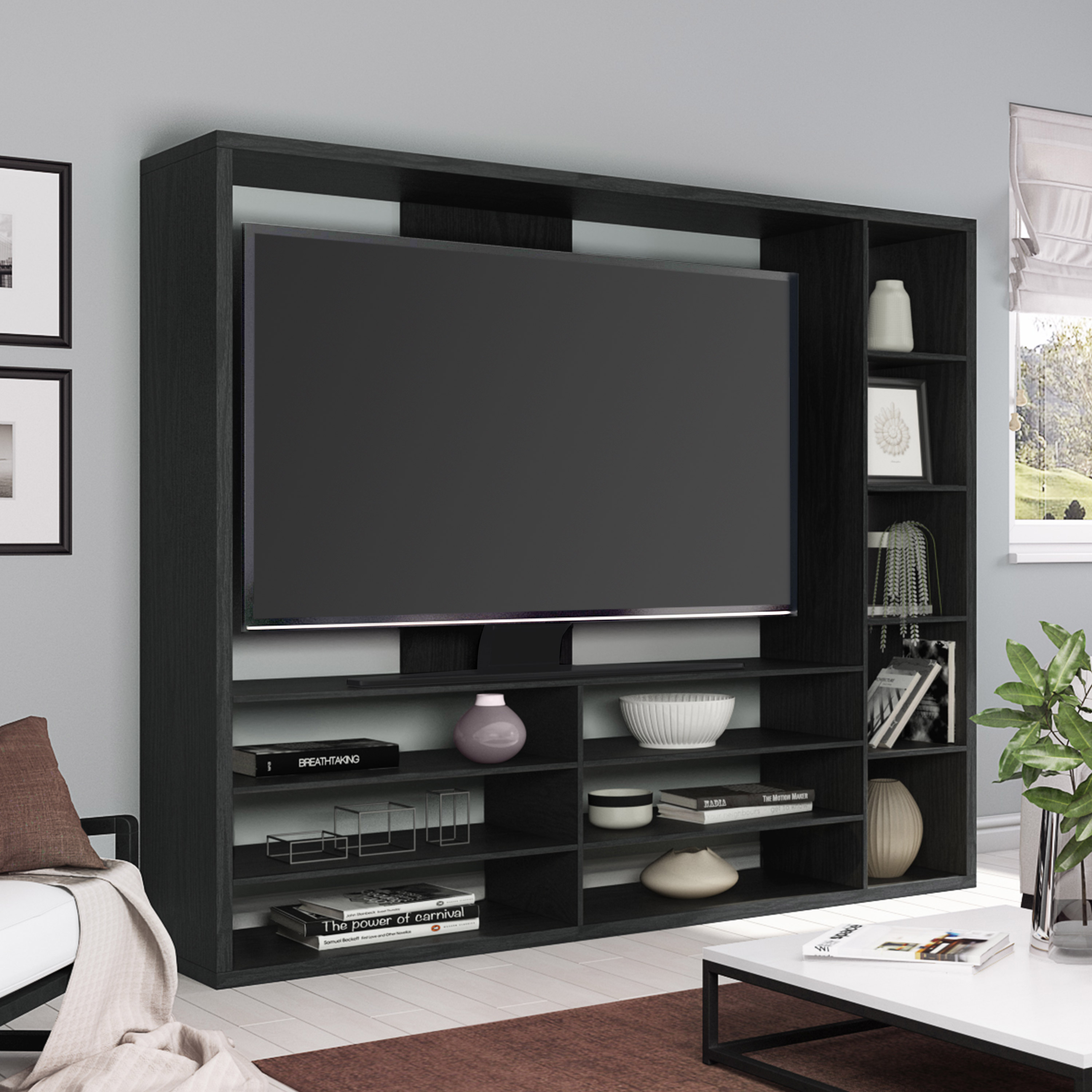 "Mainstays Entertainment Center for TVs up to 55"", Ideal TV Stand for Flat Screens, Multiple Finishes"