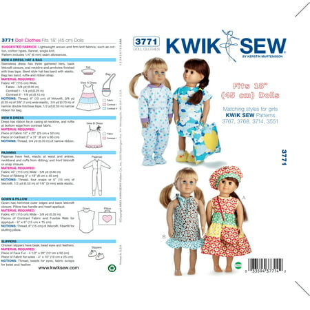 Kwik Sew Pattern Doll Clothes, Fits 18