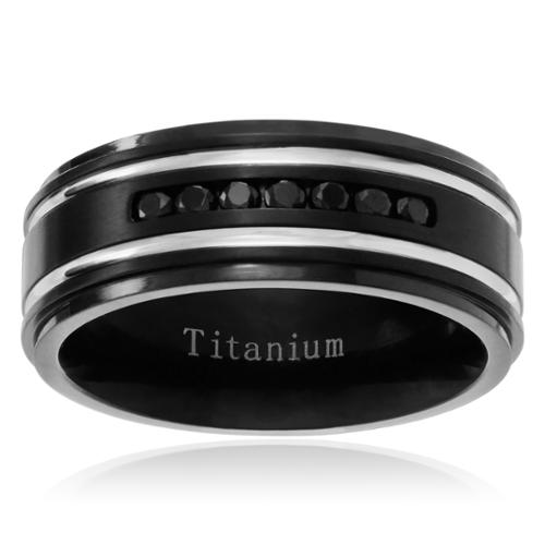Territory  Men's Titanium Cubic Zirconia Double Grooved Wedding Band