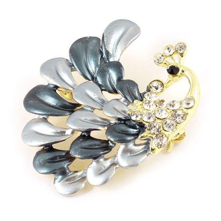 Unique Bargains Bridal Ornament Glitter Rhinestone Peacock Peafowl Design Metal Brooch Breastpin
