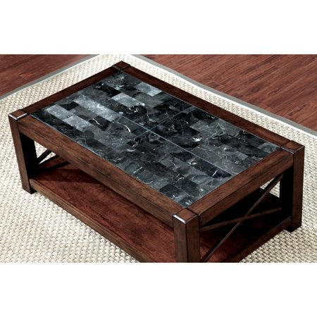 Furniture Of America Calrison Transitional Genuine Marble Top Brown - Genuine marble coffee table
