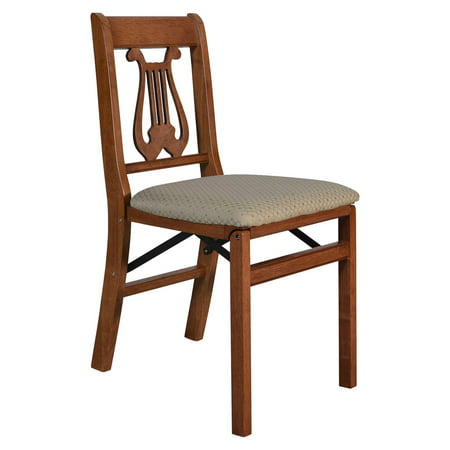 Hardwood traditional Music back folding chair - Light cherry wood and blush upholstery