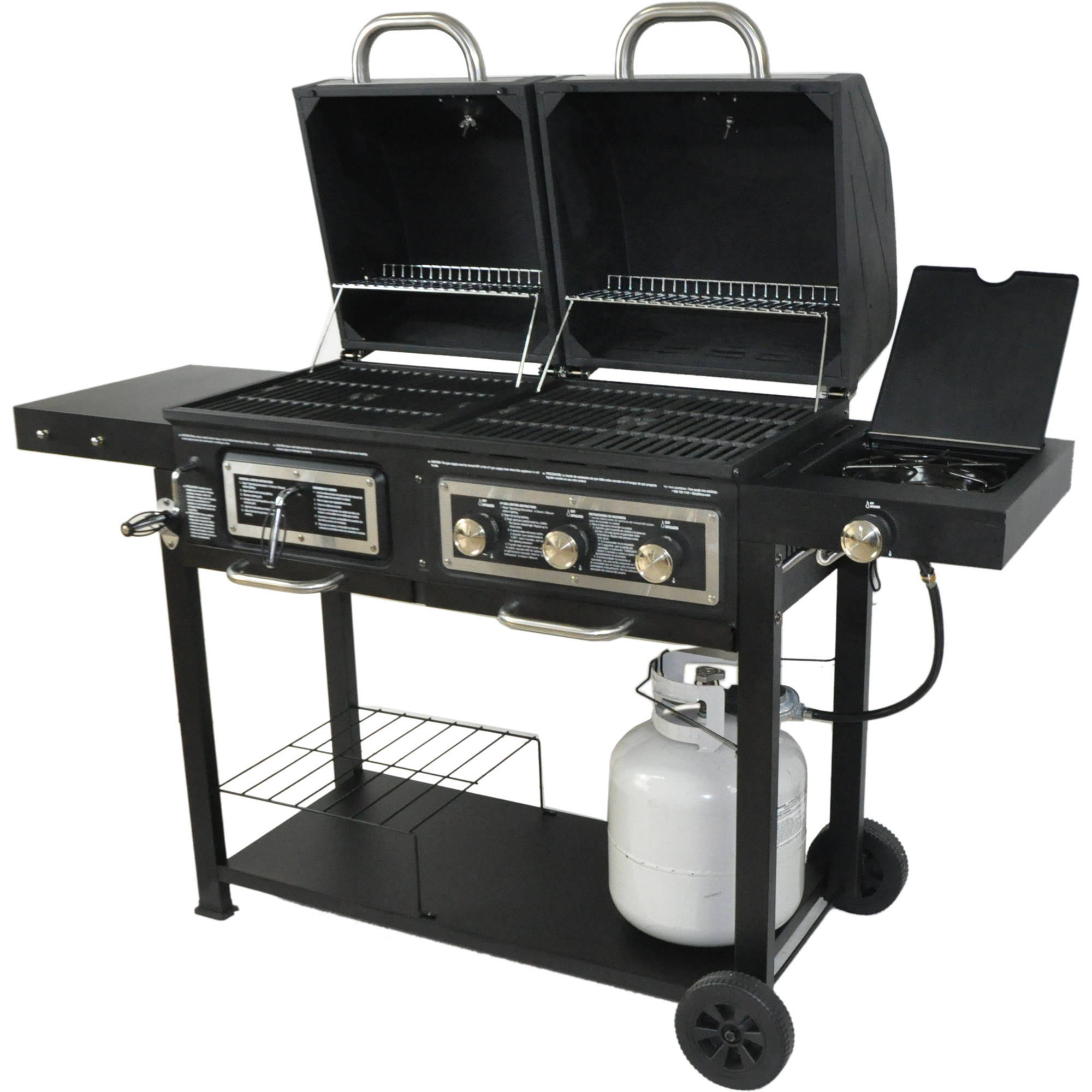 dual fuel grill barbecue outdoor patio gas charcoal. Black Bedroom Furniture Sets. Home Design Ideas