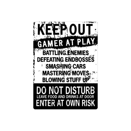 Funny Gamer Decor, 'Keep Out Gamers Only' 12 x 9 Tin Signs, Gaming Do Not Disturb Signs, Funny Video Game Signs for Boys Room, Gamer Room Sign, Keep Out Gamers At Play Home and Kitchen Signs,