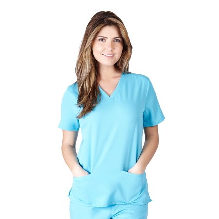 UltraSoft Premium Classic 3 Pocket V-Neck Medical Scrub Top For Women - JUNIOR FIT Water Blue / Large