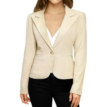 Women's Long Sleeves Peaked Lapel Elbow-Patch Blazer Jacket Beige M (US 10)