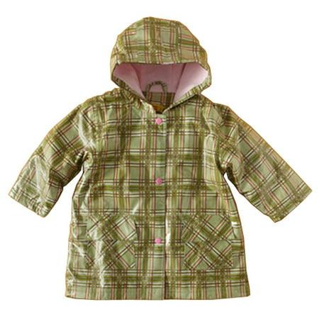 Pluie Pluie Little Girls Green Plaid Lined Raincoat Outerwear 12M-10