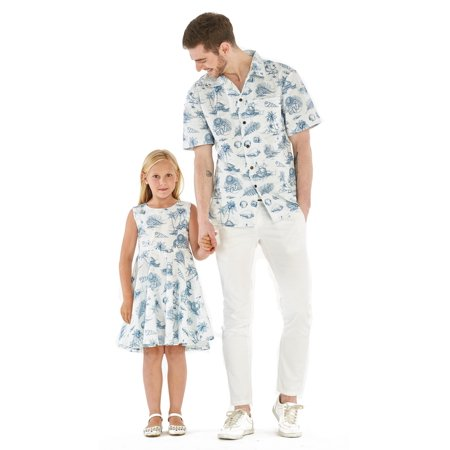 Matching Father Daughter Hawaiian Dance Shirt Vintage Dress Vintage Tropical Toile Men XL Girl 8 - Father Daughter Halloween Ideas