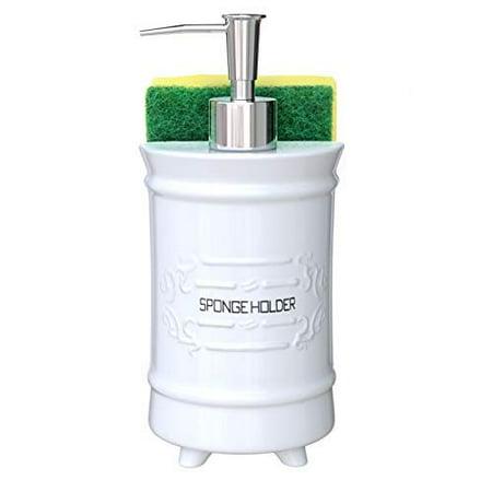 Comfify French Design Kitchen Soap Dispenser & Sponge Holder - Vanity Sink Organizer - 12.6oz French Design Liquid Soap Dispenser with Stainless Steel Pump Ceramic Soap Holder w/Free Sponge