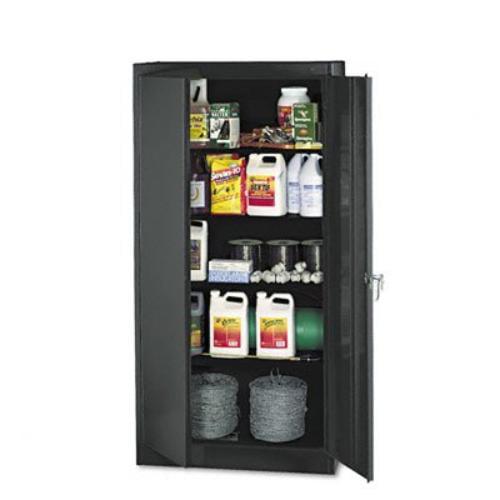 """Tennsco Standard Black Storage Cabinet - 36"""" X 18"""" X 72"""" - Steel, Nylon - 5 X Shelf[ves] - Heavy Duty, Adjustable Shelf, Locking Door, Hinged Door, Reinforced, Carrying Handle, Durable - (1470bk_35)"""