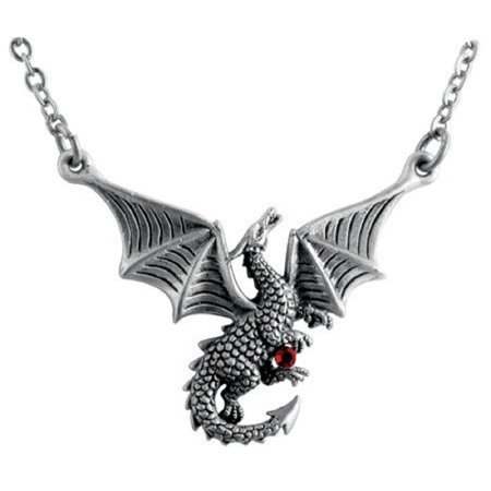 Braxus Flying Dragon with Red Gem Pewter Pendant Necklace Fantasy Jewelry New, Home and Holiday Shops By Home and Holiday - Red Gem Pewter Pendant