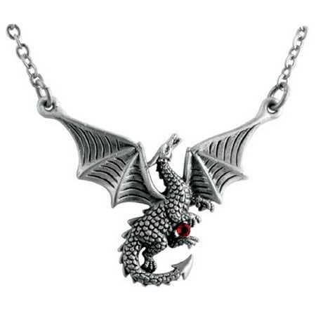 Braxus Flying Dragon with Red Gem Pewter Pendant Necklace Fantasy Jewelry New, Home and Holiday Shops By Home and Holiday