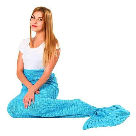 Porpora Mermaid Tail Blanket, Mermaid Crochet Knitting Blanket, Best Birthday Christmas gift Blanket Handmade Living Room Sleeping Blanket - Adult Blue 71x36