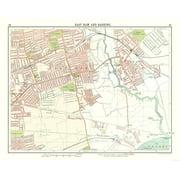 London East Map.International Map East Ham Barking London Bartholomew 1921 28 88 X 23