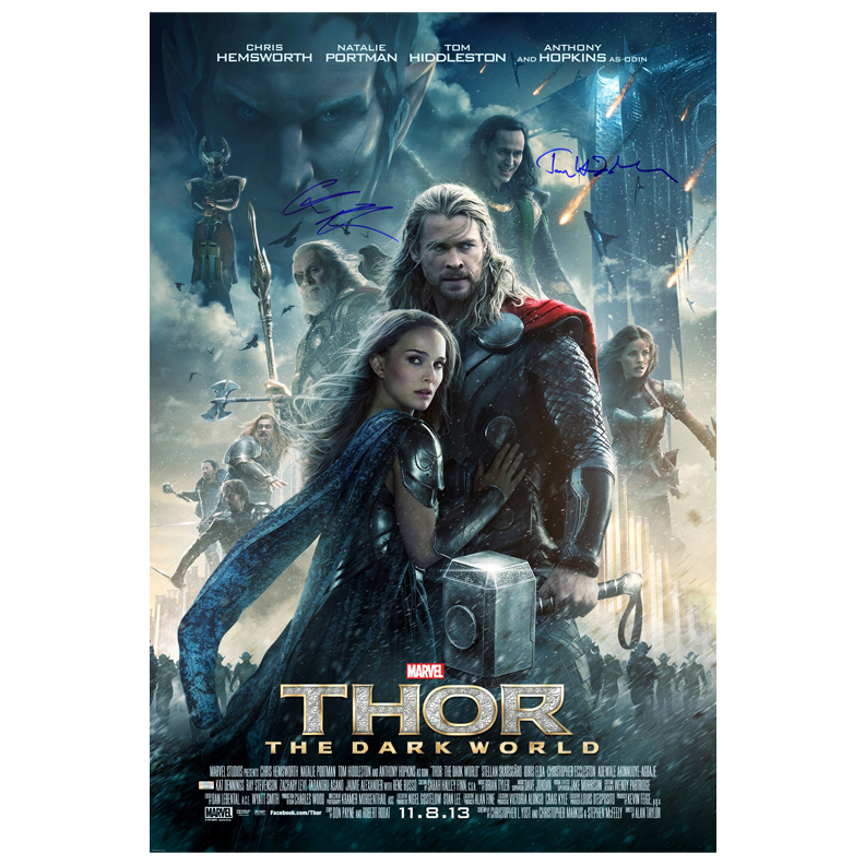 Chris Hemsworth and Tom Hiddleston Autographed 27?40 Thor: The Dark World Original Poster