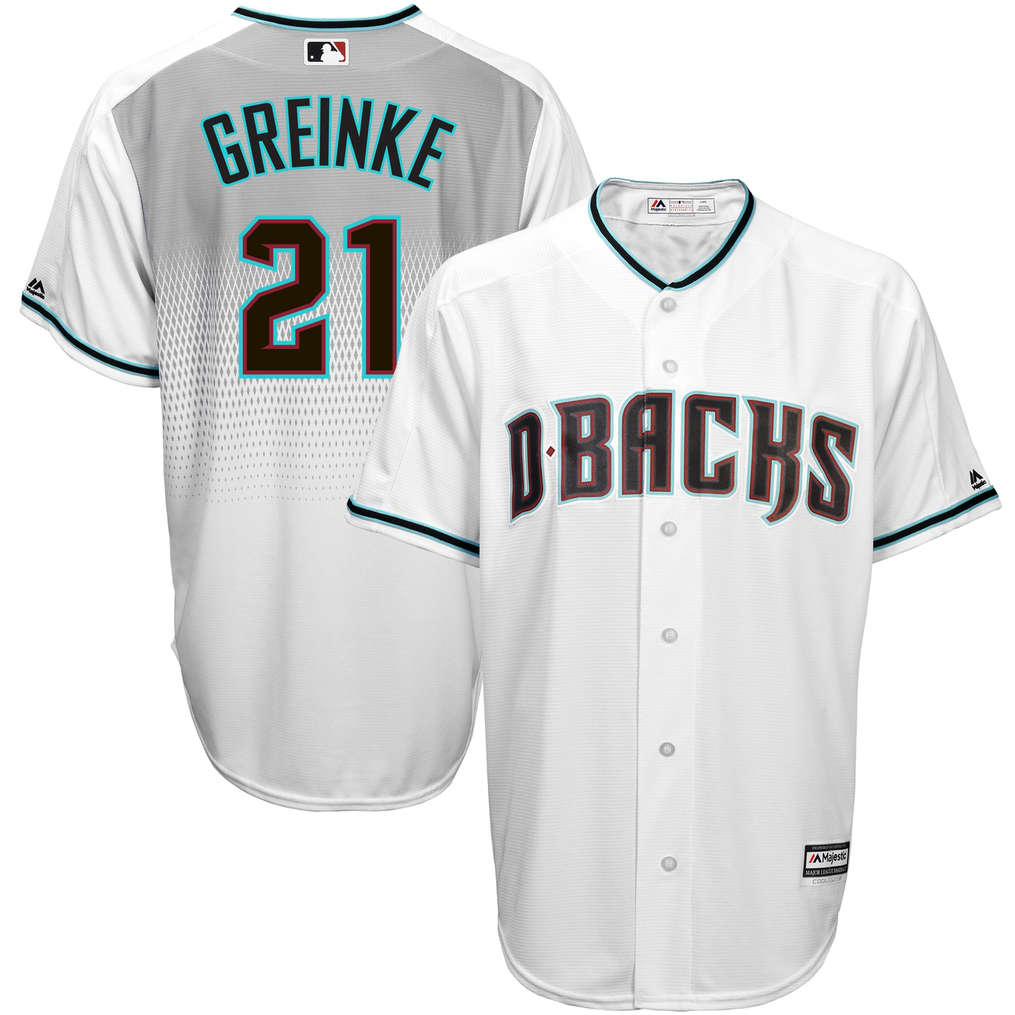 Zack Greinke Arizona Diamondbacks Majestic Home Cool Base Player Jersey - White/Teal
