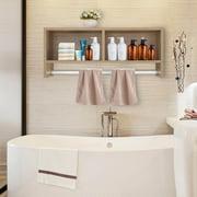 Topcobe Wall Shelf with Towel Bar, Wall Shelves and Ledges, Cube Storage Shelf, Wall Mount Storage Shelf Rack Organizer for Bathroom, Hallway, Entrywaym, Wood Color