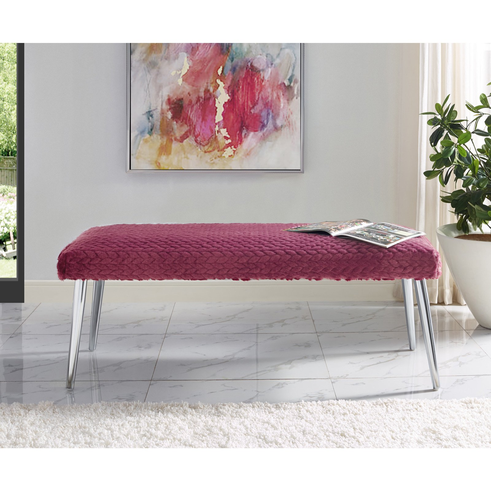 Inspired Home Emery Faux Fur Bedroom Bench