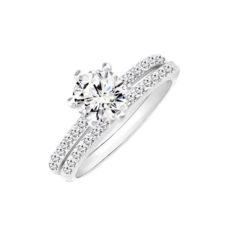 DTLA Sterling Silver Bridal Set Solitaire Engagement Ring and Wedding Band with Cubic Zirconia (Solitaire Engagement Wedding Ring)