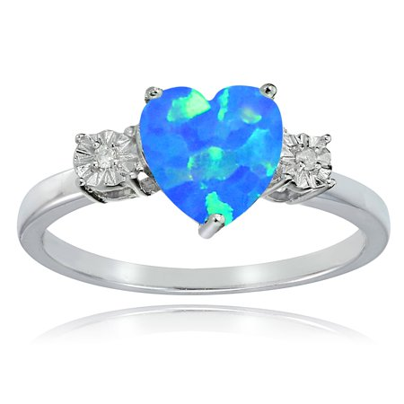 Glitzy Rocks  Sterling Silver Created Blue Opal and Diamond Accent Heart (Diamond Created Opal Heart Ring)