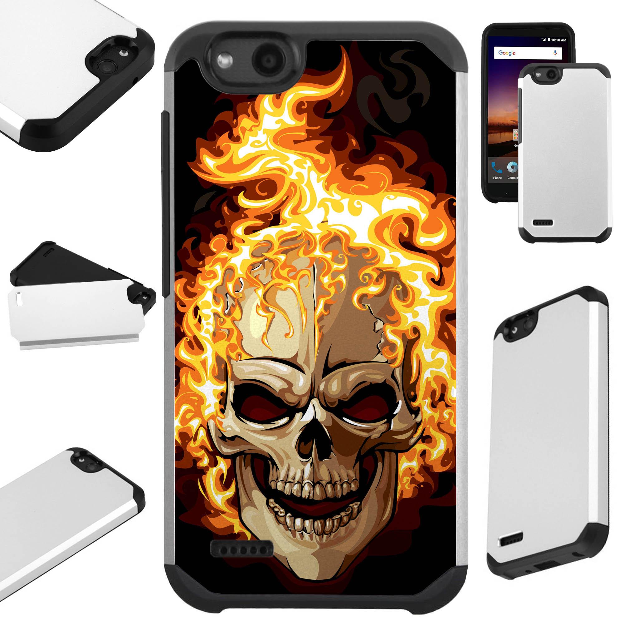 For ZTE ZFive G LTE / ZFive C / Avid 4 / Fanfare 3 / Blade Vantage / Tempo X / Tempo Go Case Hybrid TPU Fusion Phone Cover (Skull Fire)