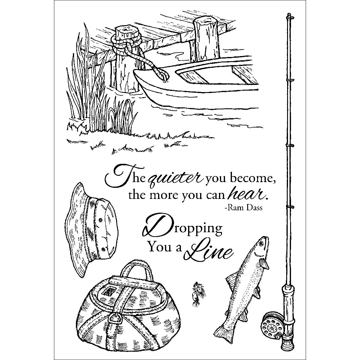 "Inky Antics Clear Stamp Set 4""X6""-Fishing Favorites - image 1 of 1"