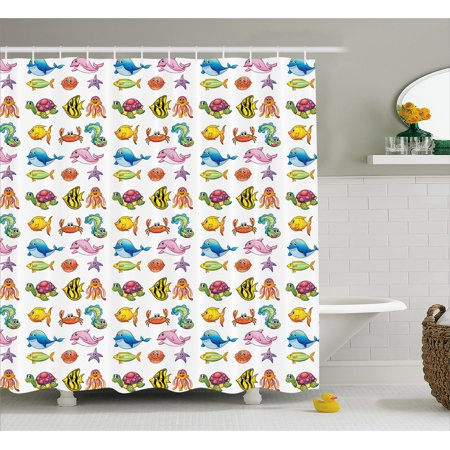 Boy's Shower Curtain, Happy Fauna of the High Seas Smiling Characters Fishes Turtles Crabs Octopus