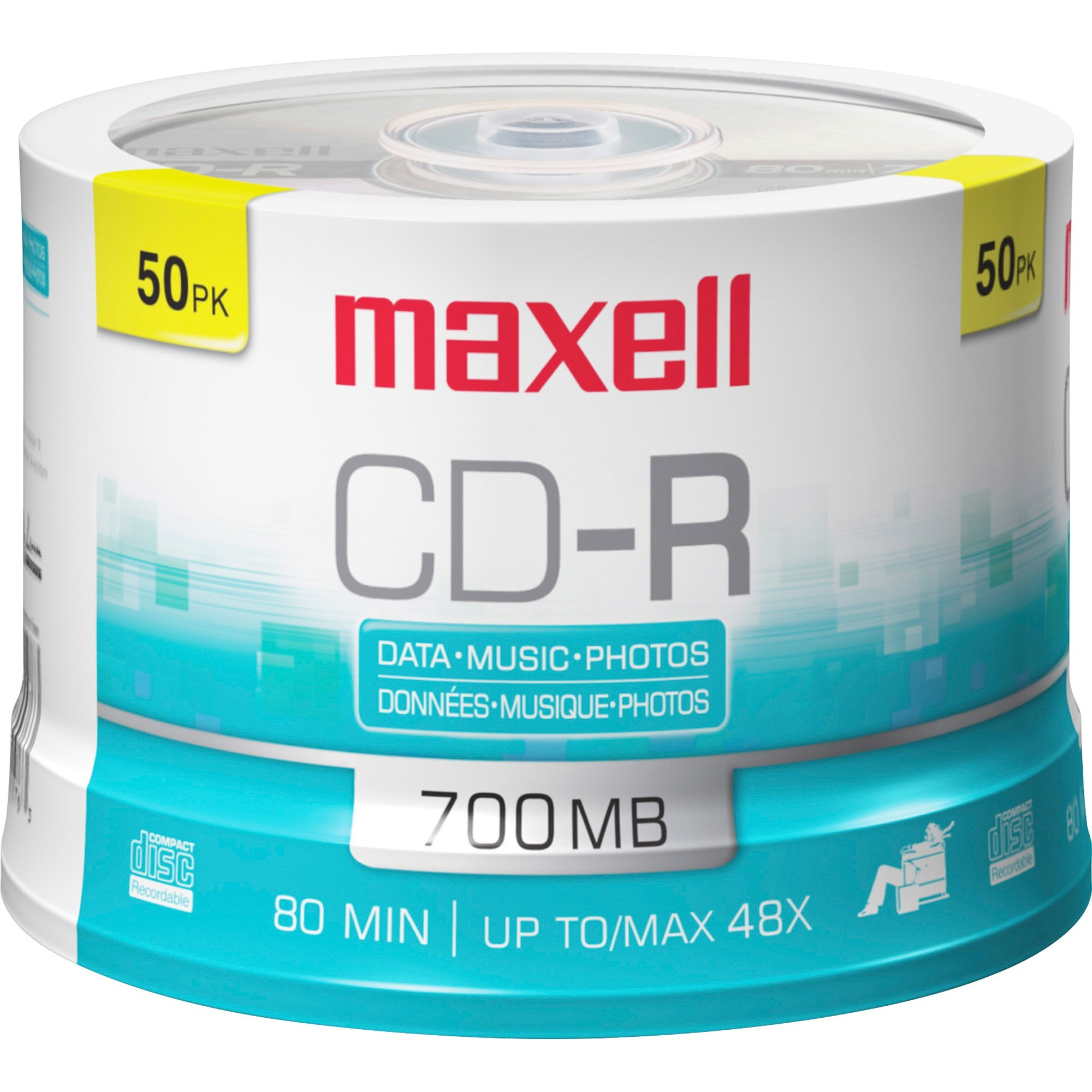 50-Pack Maxell Recordable CD CD-R Disc Quality Music Recording Audio Only 700 MB
