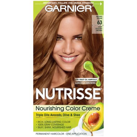 Garnier Nutrisse Nourishing Hair Color Creme (Browns), 63 Light Golden Brown (Brown Sugar), 1 kit - Gold Hair Color Spray