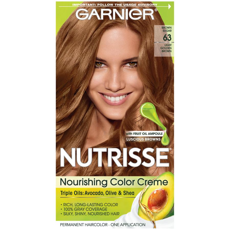 Garnier Nutrisse Nourishing Hair Color Creme (Browns), 63 Light Golden Brown (Brown Sugar), 1 kit