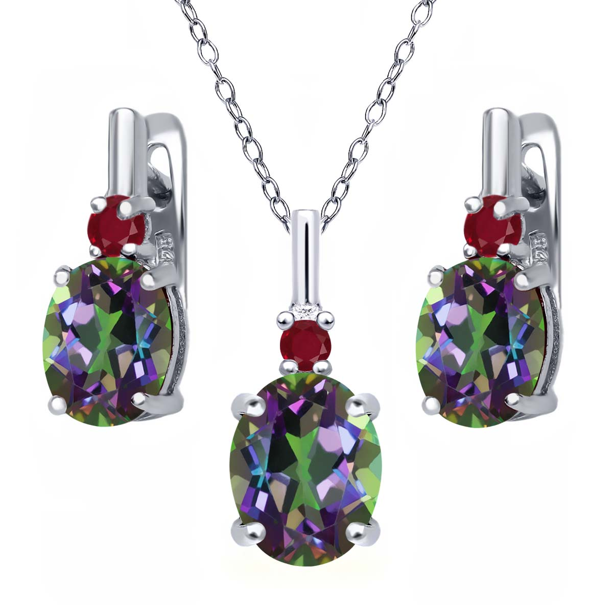 7.02 Ct Oval Green Mystic Topaz Red Ruby 925 Silver Pendant Earrings Set by
