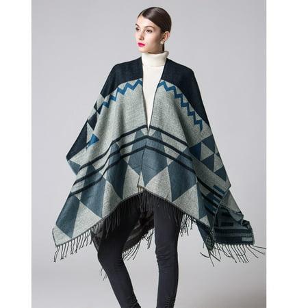 - Women Knitted Shawl Poncho Faux Cashmere Geometric Pattern Tassel Oversized Long Bohemia Cape