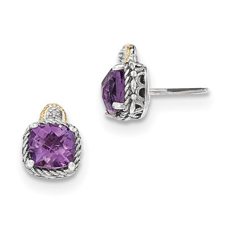 1.25 Ct Amethyst Diamond (Sterling Silver w/14k Gold Amethyst & Diamond Post Earrings (0.4IN Long) )