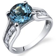 Peora 2.25 Ct London Blue Topaz Engagement Ring in Rhodium-Plated Sterling Silver