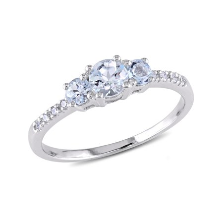 - Aquamarine Three Stone Ring 1/2 Carat (ctw) with Diamonds in 10K White Gold
