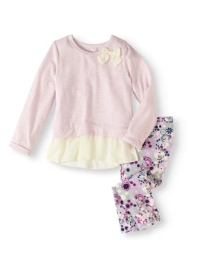 Toddler Girls' Mock Double Layer Tunic With Legging 2-Piece Set