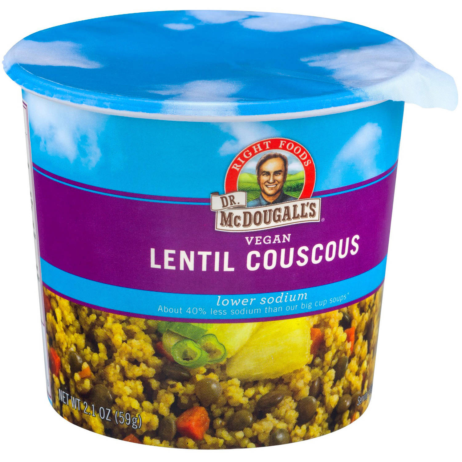 Dr. McDougall's Right Foods Lower Sodium Vegan Lentil Couscous, 2.1 oz, (Pack of 6) by