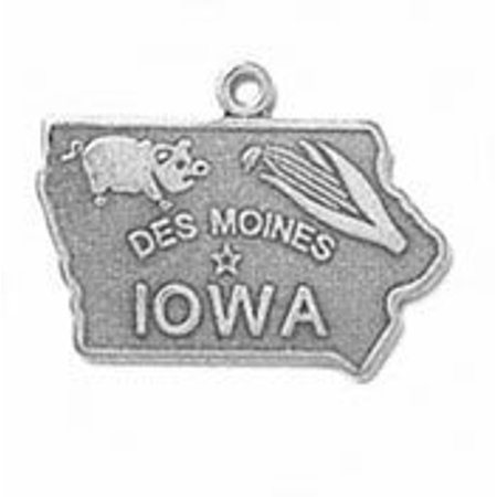 Iowa State Charm (Sterling Silver Iowa State Charm with Split Ring )