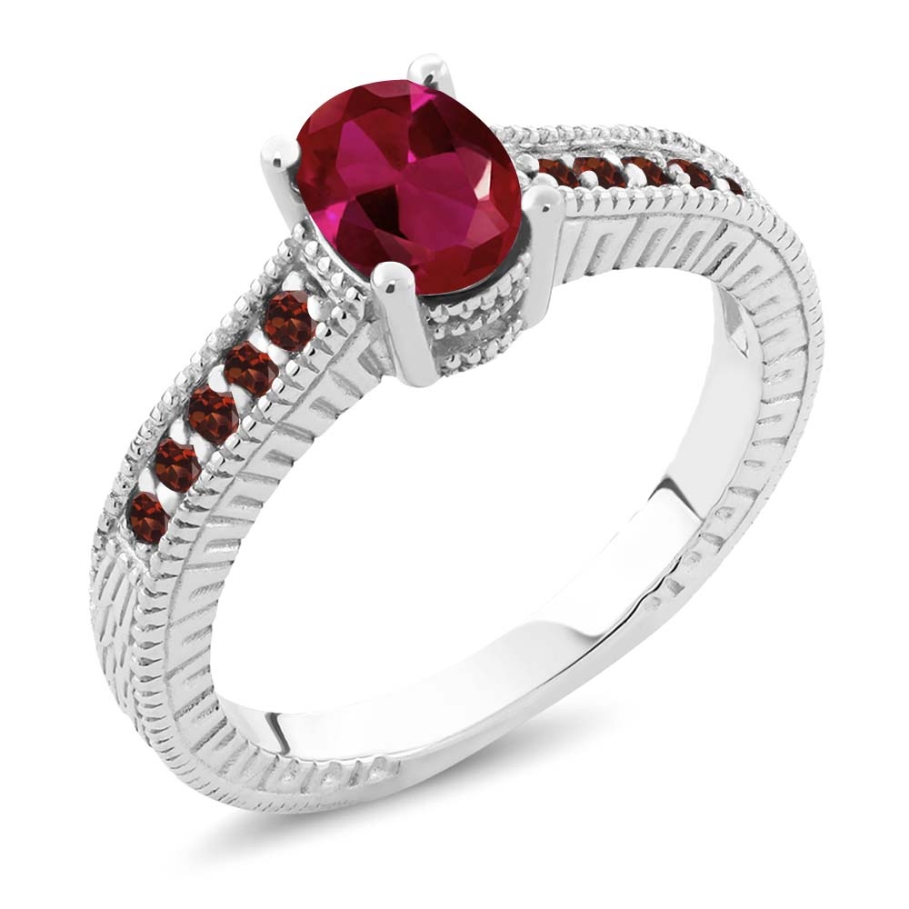 1.34 Ct Oval Red Created Ruby Garnet 18K White Gold Engag...