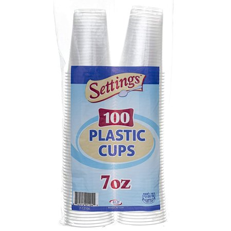 (2 Pack) Settings Plastic Disposable Cups, 7 oz, 100 Count - Plastic Cup Trophy