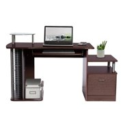 Techni Mobili Complete Computer Workstation Desk with Storage and Media Rack RTA-2202, Chocolate