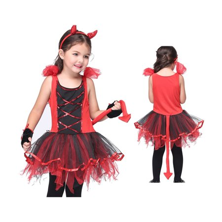 Girl's Adorable Devil Halloween Costume 2 Piece