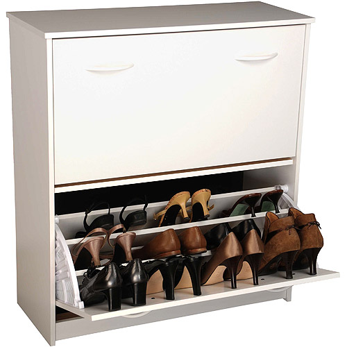 Shoe Cabinet, Double, White
